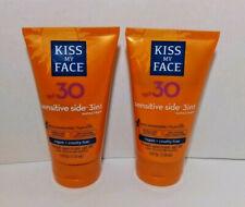 2X Kiss My Face SPF 30 Sensitive Side 3-in-1 Sunscreen Exp 10/20 Hydresia Vegan