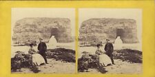 Scène bord de mer Royaume-Uni ? UK Photo Lennie Stereo Vintage Albumine c1860