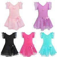 Kids Girls Gymnastics Ballet Dance Dress Leotard Tutu Skirt Dance Wear Costume
