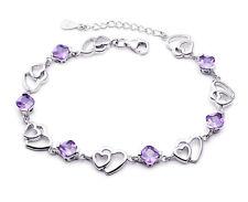 925 Sterling Silver Heart Hollow Bracelet Charm Link Womens Jewellery Xmas Gift