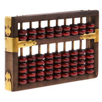 Vintage Chinese Wood Abacus Arithmetic Calculating Tool 9 Digits Calculator