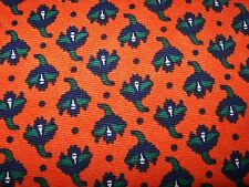 Vtg Cotton Linen Fabric 1.8+ Yds Retro Floral Screen Print CONE MILLS Orange