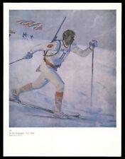 """Biathlon"" Soldier Skier Winter SPORT USSR Soviet Military Art Print"