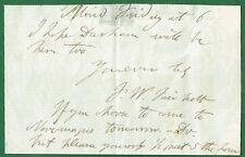 Frederick Fairholt (1814 - 1866), English Antiquary & Engraver. Autograph note