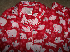 NWT Karen Neuburger Red Fleece Pajama Shirt/Pants Set WHITE POLAR BEARS M SOFT