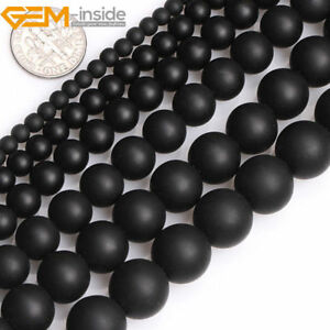 Natural Frosted Matte Black Agate Onyx Gemstone Round Beads For Jewellery Making