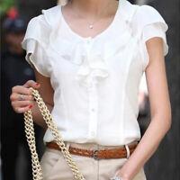 Elegant Women Summer Chiffon Blouse Plus Size Short Sleeve Office OL Top ShiXBUK