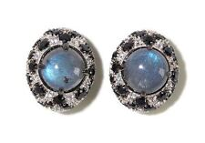 Rarities by Carol Brodie Labradorite,Black Spinel, & White Zircon SS Earrings