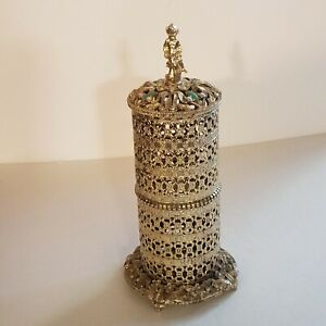 Sam Fink Toothbrush Holder Filigre SF Ormulu Gold Rhinestone Faux Jade Cherub