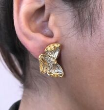 Yellow Sapphire & Diamond Flower Petal Earrings in 18K Yellow Gold - HM1565SR