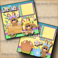 SPRING ~ 2 premade scrapbook pages paper piecing layout printed 12x12 DIGISCRAP
