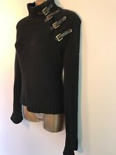 Mexx Chunky Knit Turtle Neck Cotton Jumper With Buckle Detail Size M