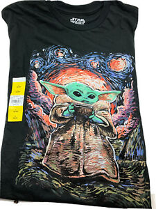 Star Wars Mandalorian Baby Yoda Sipping Starries/Starry Night Mens Graphic Tee