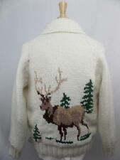 vtg COWICHAN Bulky SHAWL Cardigan Sweater LARGE Deer BUCK Elk
