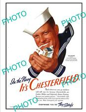 OLD LARGE HISTORIC ADVERTISING POSTER, CHESTERFIELD CIGARETTES, NAVY SAILOR 1940