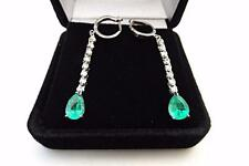 3.74ct Colombian Emerald And Diamond Drop Hanging Earrings 14k White Gold
