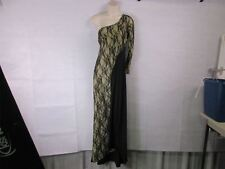 For G & PL XL One-Shoulder Long Black Lace Cocktail Prom Dress NEW