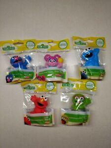 "Sesame Street 3"" Plastic Figure Set 5 Characters Elmo Abby Cookie Oscar Grover"