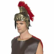Roman Spartan Helmet Plastic Feather Plume Gladiator Historical Mens Fancy Dress