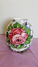 "Antique Kronprinz Annaburg Ceramic Vase, Germany, Floral Design 632, 5 1/8""H"