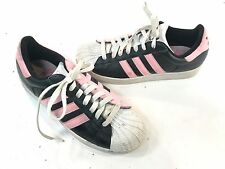 WOMEN'S RETRO SUPERSTAR ADIDAS 723001 PINK BLACK LEATHER SHOE Sz 9 M
