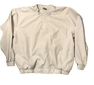 Nike Golf Mens Pullover Water Resistant Lined Khaki  Size Large Zip Pockets