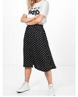 Ladies Women Polka Dot Pocket Side Midi Skirt Sizes 6-16