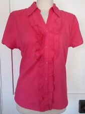 LAUREN TAYLOR PINK 100% COTTON FRILL FRONT SHORT SLEEVE BLOUSE SMART CASUAL