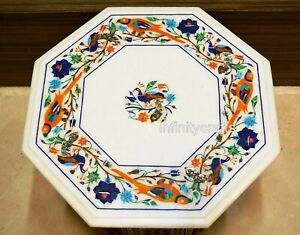 """15"""" Marble Coffee Table Top Inlay Multi Color Stone End Table for Home Furniture"""