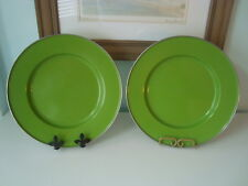 POTTERY BARN PARTY WARE Green Enamel Plate/Charger - Excellent