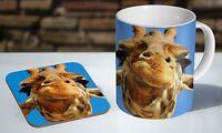 Giraffe Face Funny Tea / Coffee Mug Coaster Gift Set