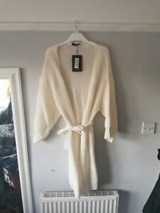 Plt pretty little thing size M/L cream knitted longline belted cardigan bnwt