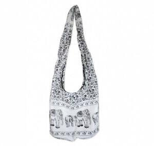 (White) - Hippie Elephant Sling Crossbody Bag Shoulder Bag Purse Thai Top Zip