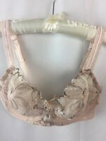 Paramour Felina Bra 40DD Nude Buff Lace 115009 Ellie Demi Floral Unlined C25