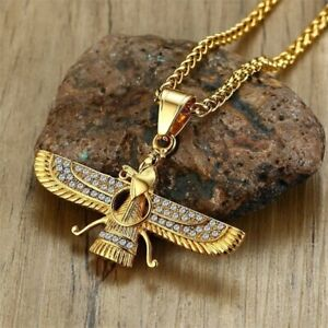 Men Gold Necklace Zoroastrian Pendant Chain Mens Bling Wing Jewelry Necklaces