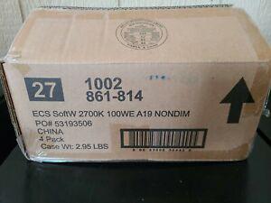 Case of EcoSmart A19 Soft White LED E26 Light Bulb 100W 100 Watt Non-Dimmable