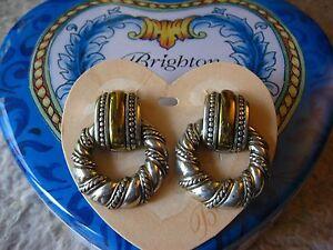 Brighton 2~TONE Doorknocker EARRINGs ~ NEW! Wear W/ Gold or Silver! READ REVIEWS