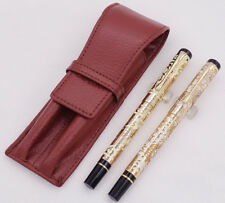Brown Leather Pen Case with Jinhao Dragon Texture Carving Fountain & Roller Pen