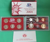 2001 United States Mint ANNUAL 10 Coin SILVER Proof Set with Box and COA