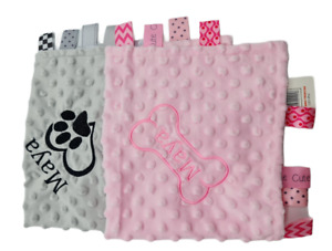 Personalised Paw  / bone Dog Cat Puppy Pet Comforter taggie  toy NEW 2021