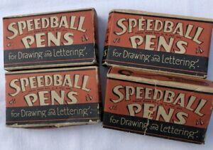 4 Boxes of Vintage Speedball Ink Pen B Nibs 1/2  2  3  4