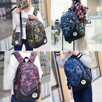 3Pcs/Set Girls Boys Large Camouflage Backpack Rucksack School Bag Travel Bag