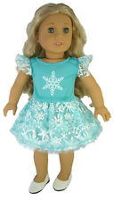 "Doll Clothes fits 18"" American Girl Aqua Tutu Snowflake Dress Elsa Frozen"