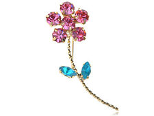 Rose Pink Single Stem Rhinestone Petal Alloy Crystal Daisy Flower Pin Brooch