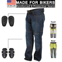 Motorcycle Motorbike Knee Armour Denim Trouser Pant Aramid Protective Lined Jean
