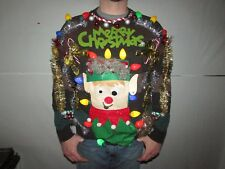 Mens Womens Ugly TACKY Christmas Sweater XL Lights Office Party Winner Skirt