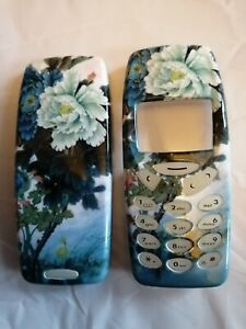 Blue Floral Nokia 3310 / 3330 Fascia Front and Back Covers Housings Keypads