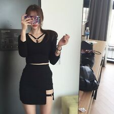 Korean Style Package Hip Skirts Gap Irregular Hem Pencil Micro Mini Skirt Black