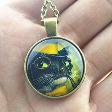 Chain Pendant Necklace Jewelry #32 Vintage Cat Cabochon bronze Glass