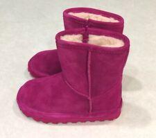 "NIB~BEARPAW ""Elle"" Toddler Girl's Pom Berry Zipper Boots~~Size 9"